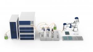 HPLC mit CETONI Nemesys Pumpe und Pipettierroboter